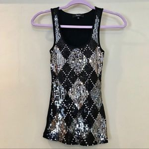 Sequin Embellished Argyle Ribbed Tank by Express